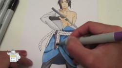 Как нарисовать Саскэ Утиха с мечом видео урок