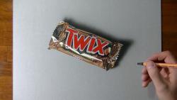 Как нарисовать шоколадный батончик TWIX (Твикс) в 3D видео урок