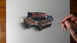 Как нарисовать шоколадный батончик Маrs в 3D видео урок