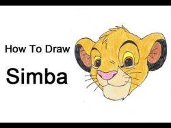 Как нарисовать Симбу из мультфильма Король Лев видео урок