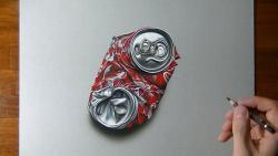 Как нарисовать смятую банку Кока-Кола в 3D видео урок