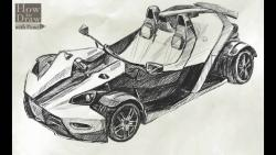 Как нарисовать суперкар KTM X-BOW карандашом видео урок