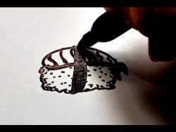 Как нарисовать суши ролл ребенку видео урок
