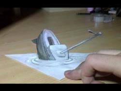 Как нарисовать тонущий корабль в 3D  видео урок