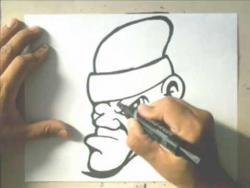 Как нарисовать угрюмого человека в шапке в стиле граффити видео урок