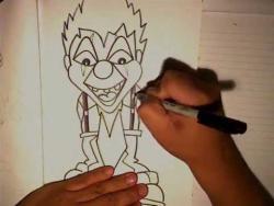 Как нарисовать улыбающегося клоуна в стиле граффити видео урок