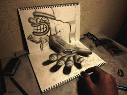 Как нарисовать вытянутую руку злого клоуна в 3D видео урок