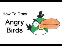 Как нарисовать зеленую птичку из Angry Birds видео урок