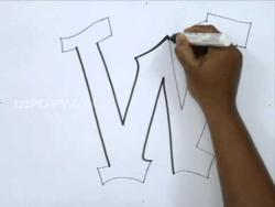 Как рисовать граффити букву W карандашом видео