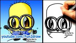 Как рисовать Миньона из Гадкий Я в стиле чиби