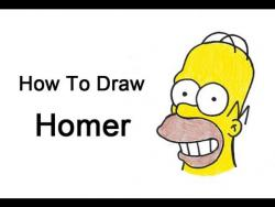 Как шаг за шагом нарисовать Гомера Симпсона из мультсериала Симпсоны видео урок