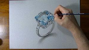 Как нарисовать 3D Кольцо с аквамарином на бумаге видео урок