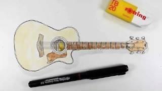 Как нарисовать Акустическую гитару карандашом видео урок