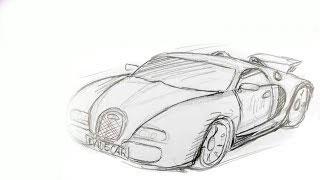 Как нарисовать автомобиль Bugatti Veyron карандашом видео урок