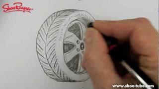 Как нарисовать автомобильную шину / колесо карандашом видео урок