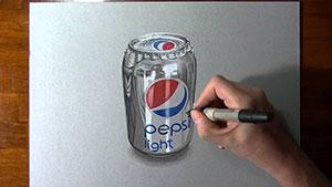 Как нарисовать банку Pepsi 3D на бумаге видео урок