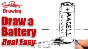 Видео как нарисовать батарейку карандашом на бумаге