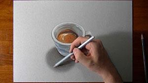 Как нарисовать чашку с кофе на бумаге видео урок