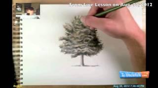 Как нарисовать Дерево карандашом видео урок