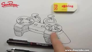 Как нарисовать джойстик от Playtstation карандашом видео урок
