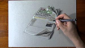 Как нарисовать газету 3D на бумаге видео урок