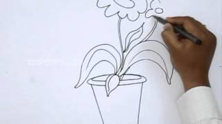 Как нарисовать Домашний горшок с цветком видеоурок
