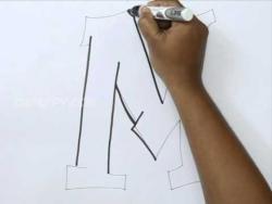 Видео как нарисовать граффити букву M карандашом