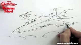 Как нарисовать истребитель Ф-18 карандашом видео урок