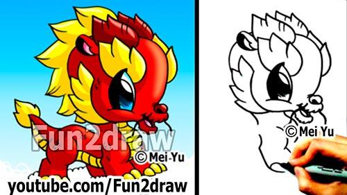 Как нарисовать Китайского дракона в стили Chibi карандашом видео урок