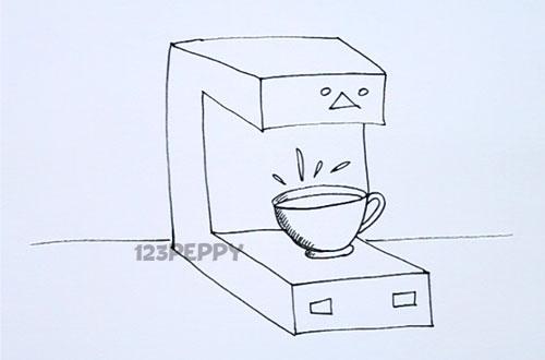 Как нарисовать Кофеварку карандашом видеоурок