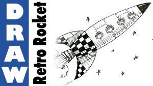 Видео как нарисовать космическую ракету карандашом на бумаге