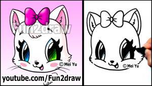 Видео как нарисовать котенка с бантом карандашом в стиле Chibi