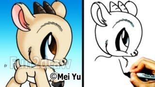 Как нарисовать Козу в стиле Chibi карандашом видео урок