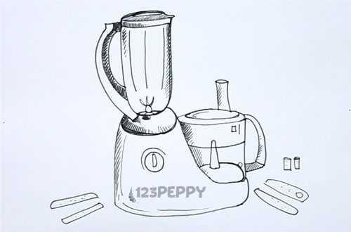 Как нарисовать Кухонный комбайн видеоурок