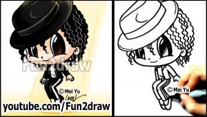 Видео как нарисовать Майкл Джексон в стиле Chibi на бумаге