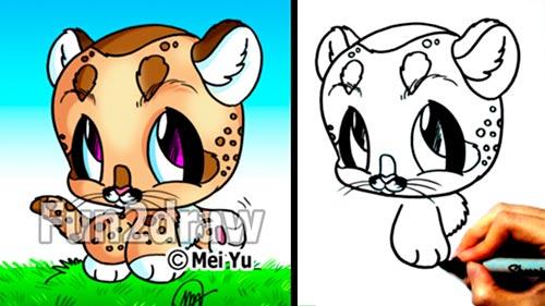 Как нарисовать маленького львенка в стиле Chibi карандашом видео урок