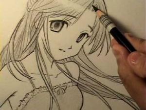 Видео как нарисовать манга девушку карандашом на бумаге