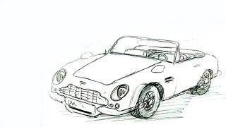 Как нарисовать машину Aston Martin DB6 Volante видео урок