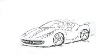Как нарисовать машину Ferrari 458 Spyder карандашом видео урок