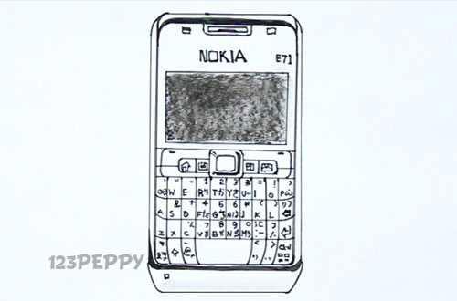 Как нарисовать Мобильный телефон Nokia E71 видеоурок
