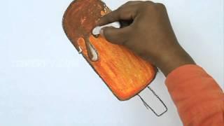 Как легко нарисовать мороженое на палочке  видео урок