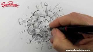 Как нарисовать мультяшный взрыв карандашом видео урок