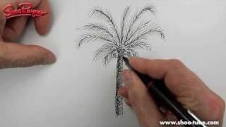 Как нарисовать Пальму карандашом видео урок