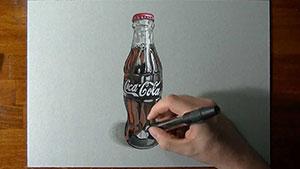Как нарисовать реалистичную 3D бутылку Coca-Cola  на бумаге