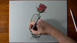 Как нарисовать реалистичную 3D красную розу в вазе видео урок