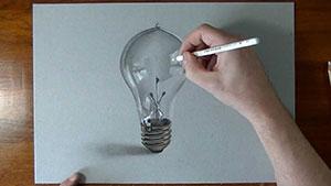 Как нарисовать реалистичную 3D Лампочку на бумаге