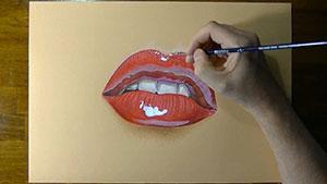 Как нарисовать реалистичные женские губы 3D на бумаге