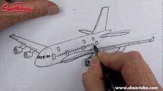 Как нарисовать самолет Airbus A380 карандашом видео урок