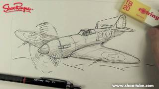 Как нарисовать Самолет WW2 Spitfire карандашом видео урок