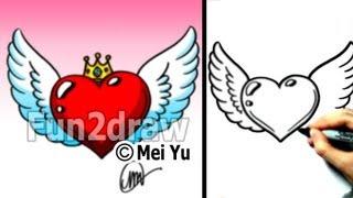 Как нарисовать Сердце с крыльями и короной карандашом видео урок